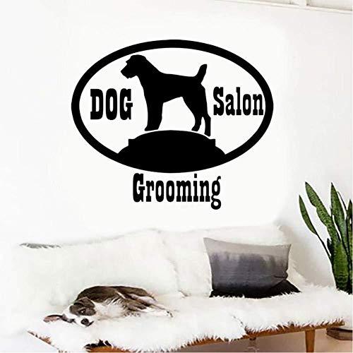 Peluquería canina Salón negro Etiqueta de la pared Vinilo Diseño de interiores Calcomanías para ventanas Cachorro Pet Shop Sign es Patrón 42x35cm