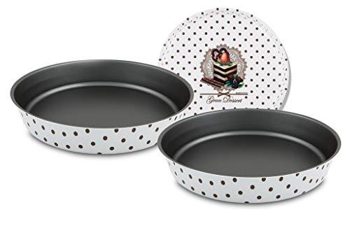 Menax Gran Dessert - Stampo da forno per pasticceria, rotondo, per torte, in alluminio a 5 strati di rivestimento antiaderente ecologico - 24 cm e 28 cm - Set di 2 - Made in Italy