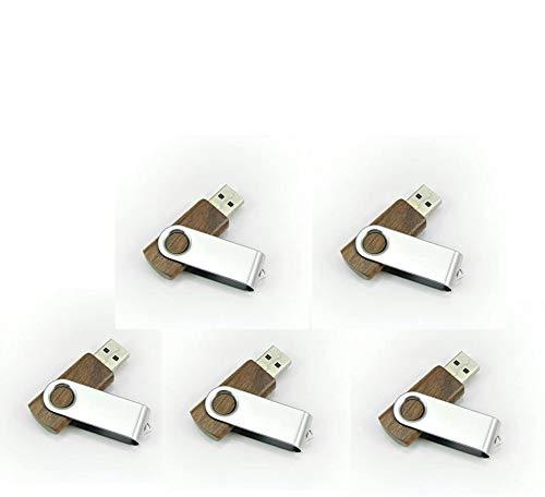 Yaxiny Paquete de 5 unidades de memoria USB de madera de nogal 2.0/3.0 con rotación de metal y madera (2.0/128GB)