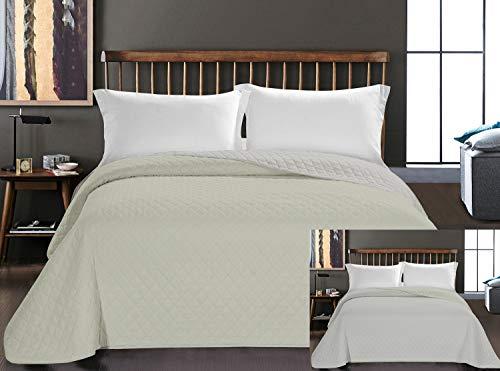 DecoKing Tagesdecke 240 x 260 cm Elfenbein Ecru Bettüberwurf zweiseitig leicht zu pflegen Axel