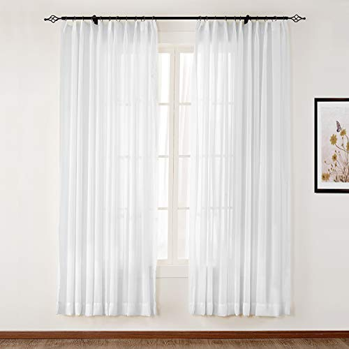 ChadMade Pinch Pleat White Sheer Curtains 63 Inch Length Semi Sheer Drapes Bedroom Sheers 2 Panel Sets Outdoor Sheer Curtains