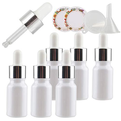 TIANZD 6 Pieza, Vacío 10ml Perle Blanco Botellas de Cuentagotas Cristal, con Anillo de Plata y pipeta, para Aromaterapia Aceites Esenciales y Perfume