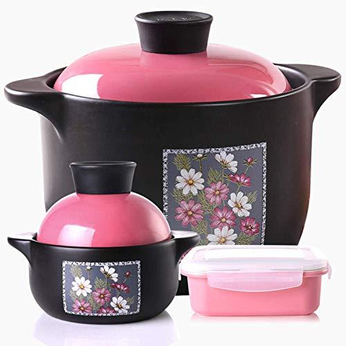 zyl Pot en céramique résistant à la Chaleur Costume Trois pièces 3L Marmite 0.6L Pot 0.5L Fresh Bowl Cooker Stone Pot