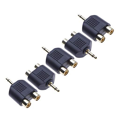 2X RCA Stereo Converter a 3,5 mm Mono por Keple, Adaptador de Audio, Divisor en Y, Conector Macho de 3,5 mm con un Anillo Macho a 2 x conexión Hembra RCA Phono (Paquete de 5)