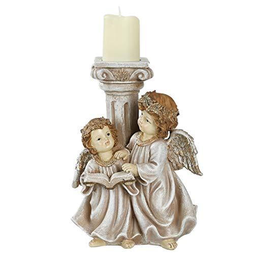 minansostey Retro Candle Holder Resin Angel Cylinder Tea Light for Christmas Wedding Vintage