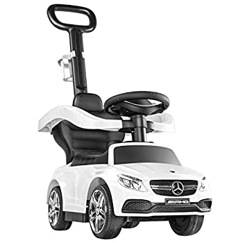 BABLE Push Car for Toddlers White- Wagons for Kids Push Car Stroller for Kids to Ride with Safety Bar Cup Holder Ride on Toys for 1 Year Old Boys or Girls