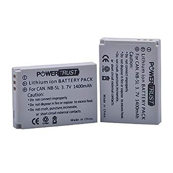 PowerTrust 1400mAh NB-5L Battery  2-Pack  for Canon PowerShot S100 S110 SD700 is SD790 is SD800 is SD850 is SD870 is SD880 is SD890 is SD900 is SD950 is SD970 is SD990 is SX200 is SX210 is SX220 is