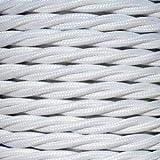 Cable eléctrico vintage trenzado decorativo de superficie. Color blanco. Bobina de 5 metros de 2 núcleos de 0,75 mm de sección.
