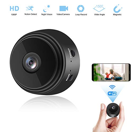 NEFRIA Mini Camera WiFi Wireless Video Camera 1080P HD Small Home Security Surveillance Cameras with 32G SD Card, Portable Tiny Nanny Cam with Night Vision Motion Detection for Car Indoor Outdoor-01