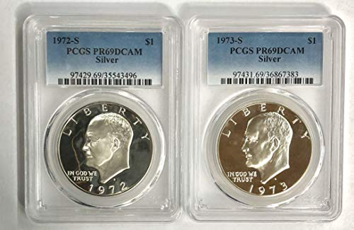 1972 S 1973 S Silver Eisenhower Ike Dollar 2 Coin Set $1 PCGS PR69DCAM