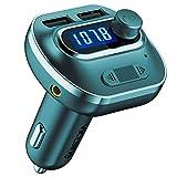 VicTsing Transmetteur FM Bluetooth, Double USB Chargeur sans Fil Mains-Libres Lecteur Mp3, Kit de Voiture Mains Libres, Voiture Adaptateur Radio Support Carte SD/Clé USB/Aux Cable Vert