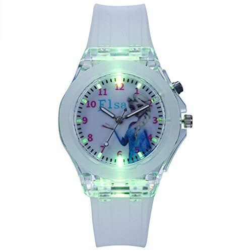 SANDA Relojes De Pulsera para Niños,Reloj de niño de Dibujos Animados Noche Luz de Noche Schoolgirl Watch Boy Girl Toy Table-Blanco