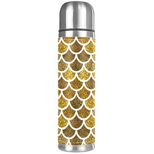 Isolierflasche mit goldenem Glitzer, Fischschuppen-Design, Edelstahl, Thermosflasche, Isolierbecher aus Leder, für heiße Kaffee oder kalten Tee, mit Trinkbecher, ideal für Büro, Camping und Outdoor