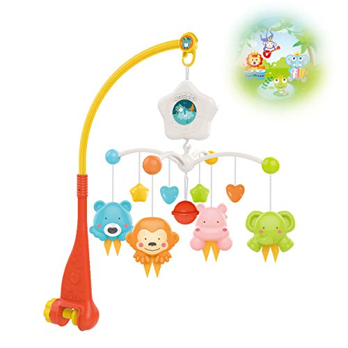 Baby Crib Mobile with Projrctor and Relaxing Music, Hanging Rotating Animals Rattles Nursery Gift Toy for Newborn 0-24 Months Boys and Girls Sleep