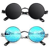 CGID E72 Pack 2 Steampunk estilo retro inspirado círculo metálico redondo gafas de sol polarizadas para hombres