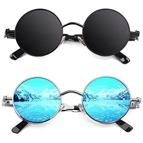 CGID E72 Polarizzate Occhiali da Sole da Uomo Retro Stile Steampunk Rotondi in Metallo,2 pezzi