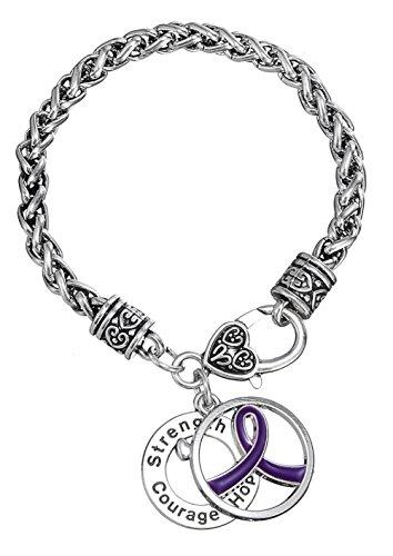 Pulsera para mujer con colgante de cinta morada y diseño de sobreviviente al cáncer, fortaleza, coraje, esperanza
