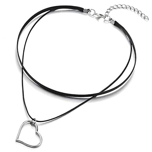 COOLSTEELANDBEYOND Dos Hileras Collar de Gargantilla Choker Negro Collar de Mujer, Abierto Corazón Charm Colgante