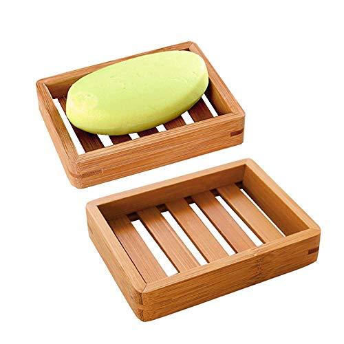 Mein HERZ 2 Stück Seifenschale Bambus, Natürliche Bambus Seifenschale, Glattes Quadrat, Dusche Handgefertigte Verhindert Seifenreste auf Ihrer Waschbeckenablage Seifen Box Für Schwämme Scrubber Seife