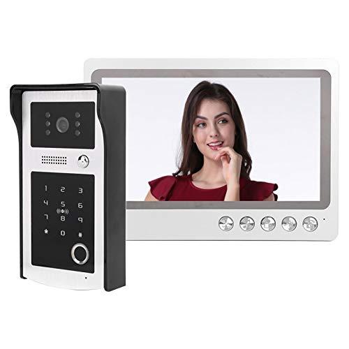 Videoportero Sistema de videoportero con videoportero de 9 pulgadas Monitor LCD Cámara Videoportero Kits, Soporte de huella digital Tarjeta IC Desbloqueo remoto, Visión nocturna(US plug)