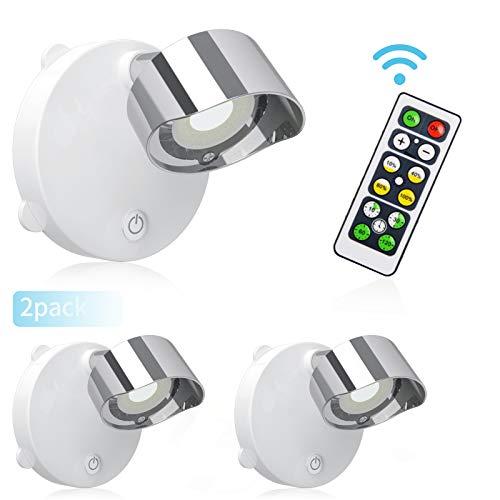 LIGHTESS 2 Stück Wandspot mit Schalter Batteriebetrieben Spot Lampe LED mit Fernbedienung Schrankleuchte für Küche Halle Studio usw [Energieklasse A++] (Kaltweiß)