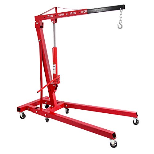 Honhill 2 Ton Folding Hydraulic Engine Hoist Cherry Picker Shop Crane Hoist Lift Heavy Duty Steel with 6 Iron Caster Wheels for Warehouses, Factory, Ports