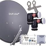 DUR-line 8 TN/2 Satelliten Set - Qualitäts-Alu-Satelliten-Komplettanlage - Select 75cm/80cm...