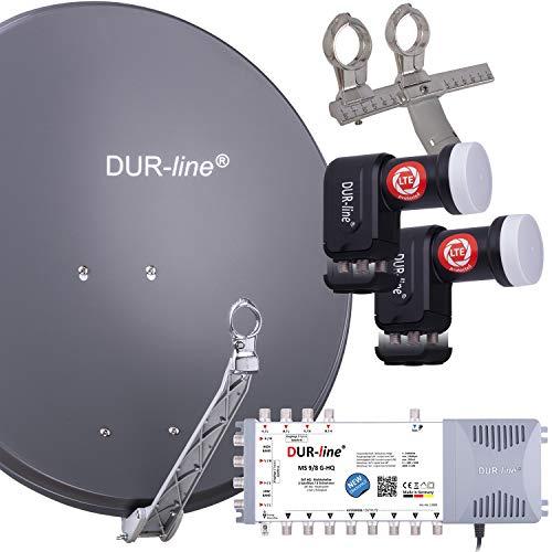 DUR-line 8 TN/2 Satelliten Set - Qualitäts-Alu-Satelliten-Komplettanlage - Select 75cm/80cm Spiegel/Schüssel Anthrazit + Multischalter + 2xLNB - für 8 Receiver/TV [Neuste Technik, DVB-S2, 4K, 3D]