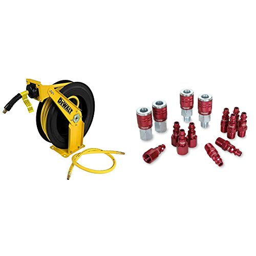 "DeWalt DXCM024-0343 Double Arm Hose Reel with 3/8"" x 50' Premium Rubber Hose & ColorConnex Coupler & Plug Kit (14 Piece), Industrial Type D, 1/4 in. NPT, Red - A73458D"