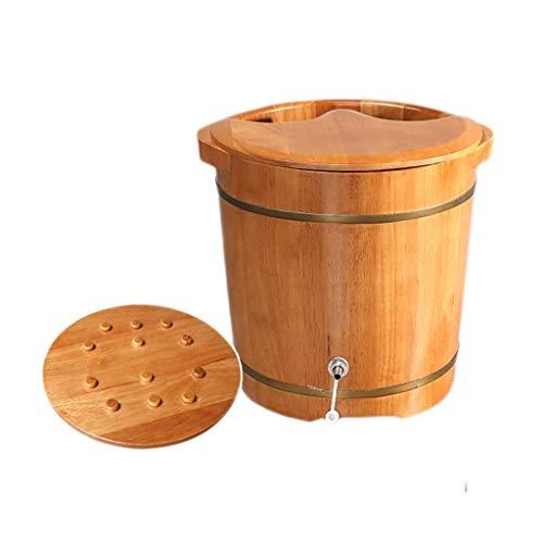 WYZQ Household Foot Bath Barrel, Foot Bath, Covered Foot Basin, Oak Footbath Massage Bead Design, Foot Bath Barrel, Massage, Spa, Sauna, Soak (Massage),Foot Massagers