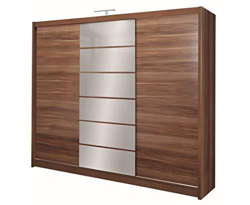 Furniture24_eu Kleiderschrank Schwebetürenschrank Schlafzimmerschrank Malibu (Pflaume/Spiegel)