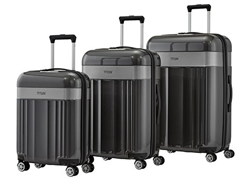TITAN 4-Rad Koffer Set L/M/S mit TSA Schloss, Bordtrolley erfüllt IATA-Bordgepäckmaß, Gepäck Serie SPOTLIGHT: Edler Trolley in trendigen Farben, 831102-04, anthracite (grau)