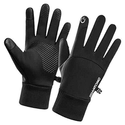 BESPORTBLE Fahrradhandschuhe Vollfinger wasserdichte Thermohandschuhe Touchscreen-Handschuhe zum Laufen Telefonieren SMS im Freien Wandern Kaltes Wetter Warme Geschenke (Schwarz XL)