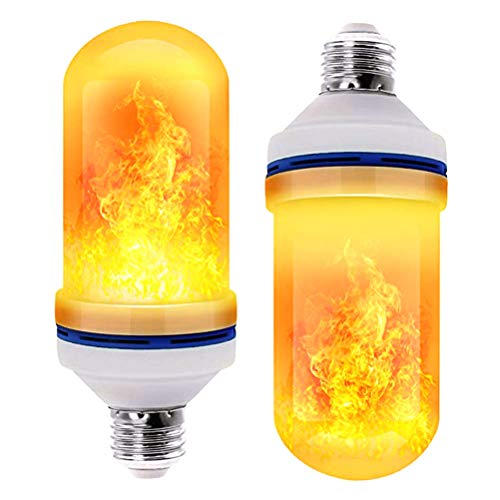 Hinder 2 bombillas LED con efecto de llama, E27, luz titilante, lámpara de pared, lámpara exterior, luz tititilante para casa, jardín, bar, fiesta, boda, restaurante, día de San Valentín