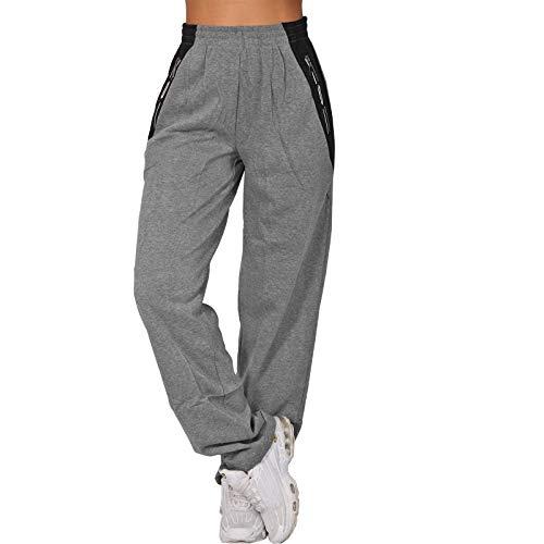 Candygirls High Waist Reißverschluss Thermo Jogging Hose Trainingshose Sporthose Fitness P8102 (Grau, XXL)