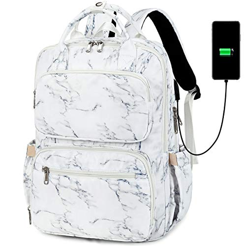 School Backpack Women Girls College Laptop Backpacks with USB Charging Port 15.6 Inch Computer Bookbag for Teacher Work Office (Marble - 8698)