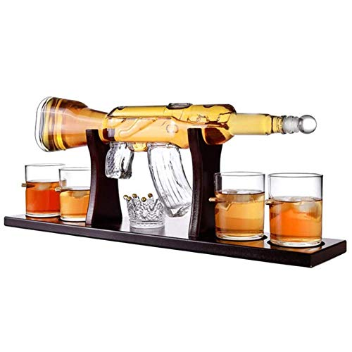 ZYLZL Juego de decantador de whisky de barware, elegante decantador de whisky con rifle de 800 ml con 4 vasos de bala y base de pino, para todos los licores espirituosos,Transparente,800 ml