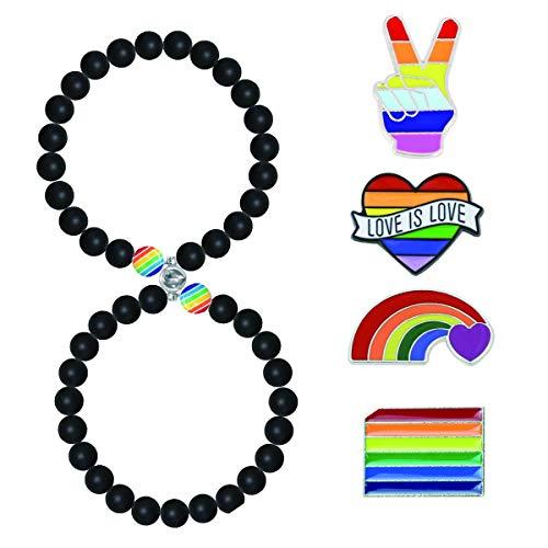1Par Magnéticas LGBT Pulseras para Parejas Gay Lesbiana Bisexual Pulseras Rainbow Pride Gay Bracelet Atraer Magnética Parejas Pulsera Cuentas Pulseras Celebración del Día del Orgullo Gay LGBT Broche