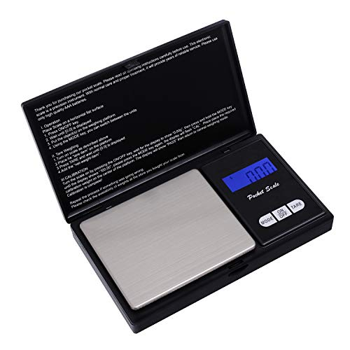 HBlife Bilancia tascabile di precisione HBlife (accurata da  500g X 0,1g), bilancia Cusine, scala gioielli con display LCD e funzione tara (nero)