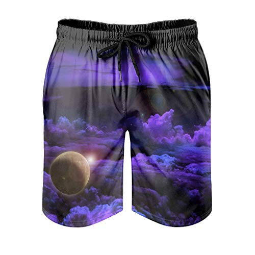 WellWellWell Misterioso planeta en las nubes Playa Corto para los Hombres Camping Traje de Baño Portátil Verano Pantalones Cortos Con Bolsillos Blanco 4xl