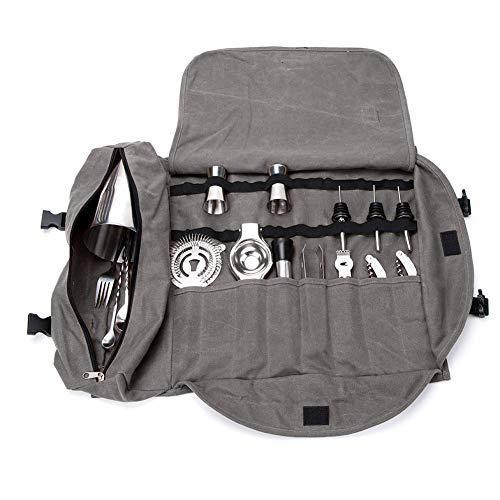 Kit de bartender bolsa de mano, portátil, grande, juegos de barras, bolsa de rollo para hacer cócteles en casa y lugar de trabajo, bolsa de herramientas para viajar (gris)