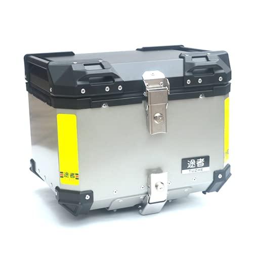 GELEI Baúl De Moto Universal Maleta para Moto Aluminio Natural, 43 litros De Volumen para 1 Casco Integral, con 2 Llaves,Plata