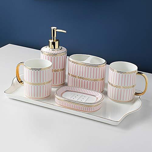 Conjunto de Lavado de Lujo de Lujo de Lujo de Lujo Estilo nórdico, dispensador jabón, Titular del Cepillo Dientes, Taza Enjuague bucal, jabonera, Regalos adecuados para Familia-Pink||Six-Piece Set