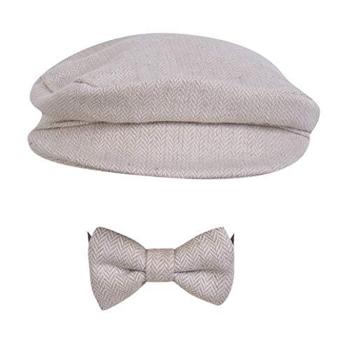 Greetuny 2pcs Boina y Corbata Bebé Retro Gorro Recién Nacido Regalo Original Lindo Sombrero de Fieltro 100 dias Conmemoración Foto (Beige)