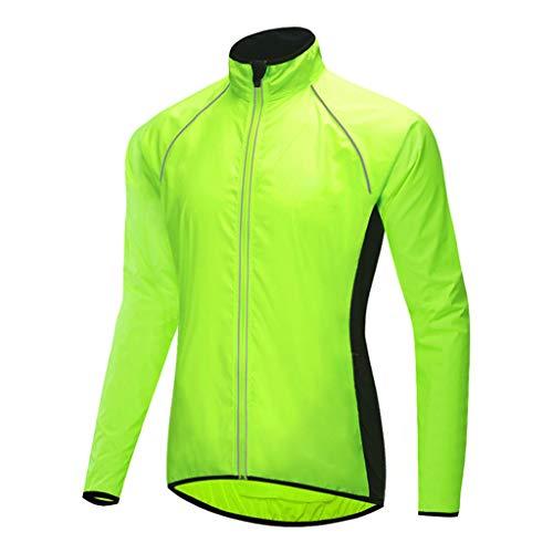 Chaqueta de Ciclismo Impermeable para Hombre, Cortavientos Reflectante Transpirable Capa de Lluvia Resistente al Viento de Alta Visibilidad para MTB al Aire Libre Bicicleta,Verde,M