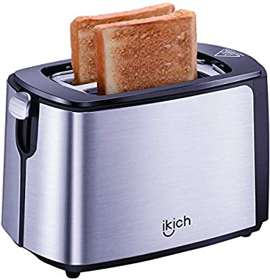 IKICH 2-Slice Toaster, 2 Slice Stainless Steel Toasters(Warming Rack/6 Variable Browning, Defrost/Reheat/Cancel, Removable Tray/Stylish Design, High Lift/Cool Touch/Silver&Black)[Energy Class A]