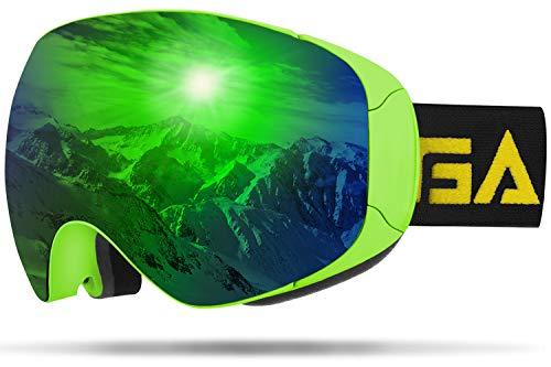 GANZTON Gafas de esquí y snowboard, doble lente, protección UV, antiniebla, con cristales magnéticos, compatibles con casco, para hombres, mujeres y adultos, color verde