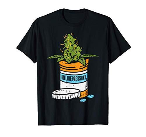 Antidepressant Weed Cannabis Marijuana 420 THC Stoner Gift Camiseta