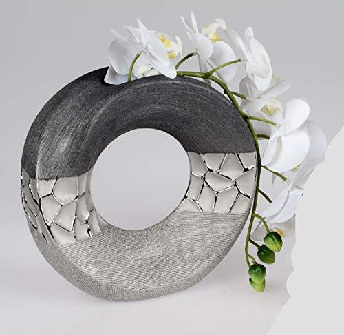 formano Vase Silber-grau edel elegant extravagant 23 cm rund 739544 modern