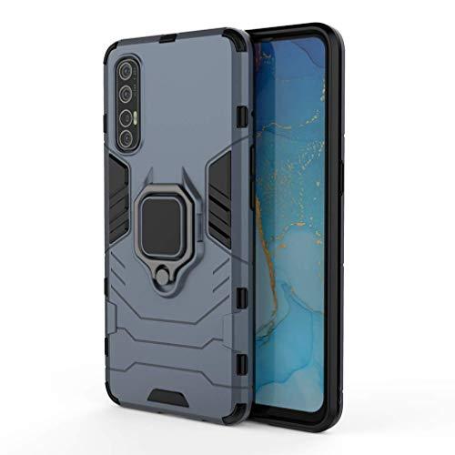 Larook Funda para Samsung Galaxy A2 Core, soporte de anillo giratorio de 360 grados, resistente a prueba de golpes, carcasa rígida de PC con soporte magnético para coche, azul marino